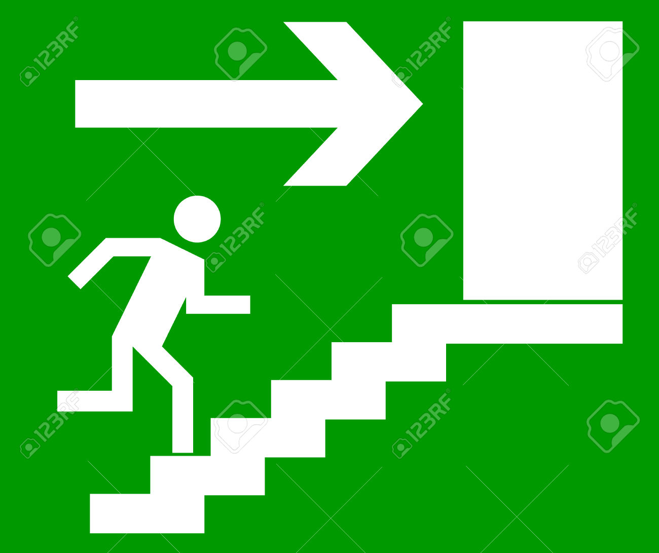 Emergency Exit Door, Sign With Human Figure On Stairs, Vector.