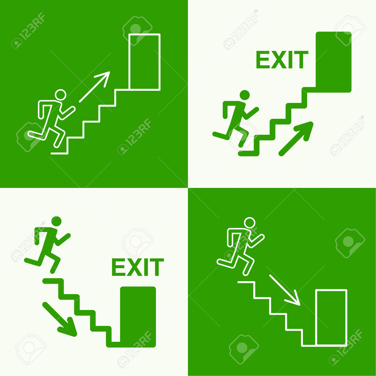 Emergency Exit Sign. Running Man On A Green Background. Vector.