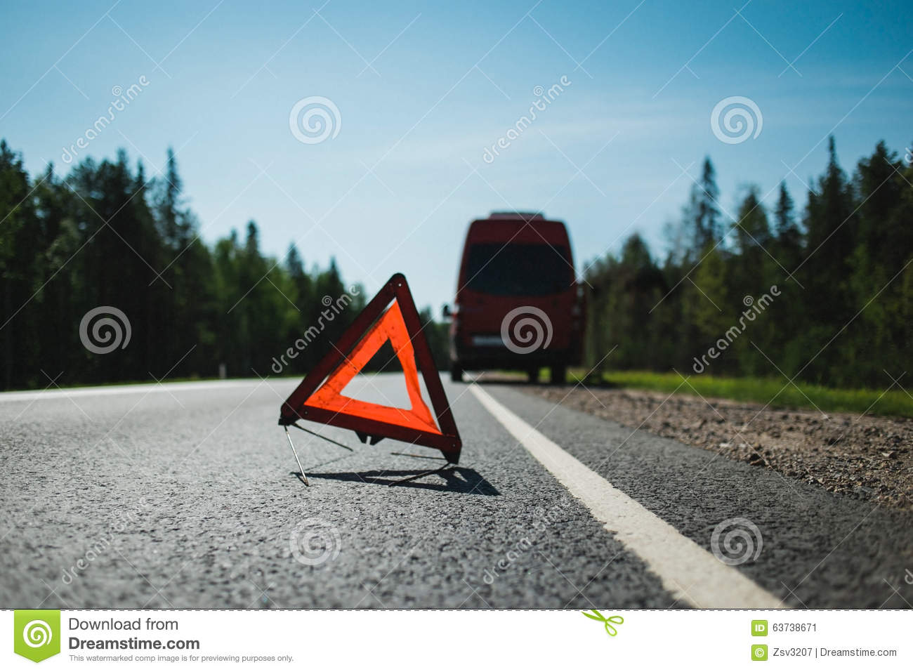 Emergency Stop Sign On Highway Stock Photo.