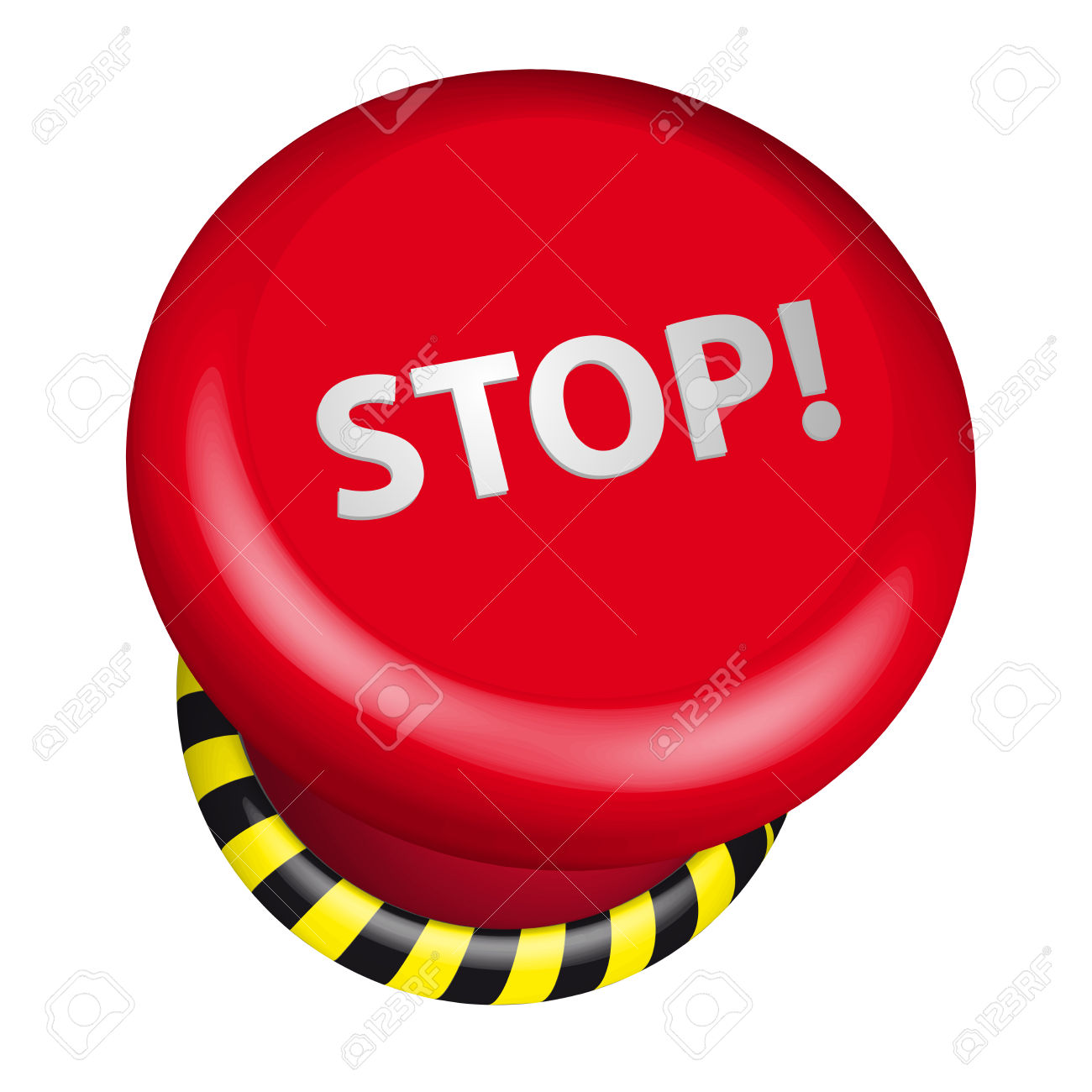 Detailed Illustration Of An Industrial Emergency Stop Button.