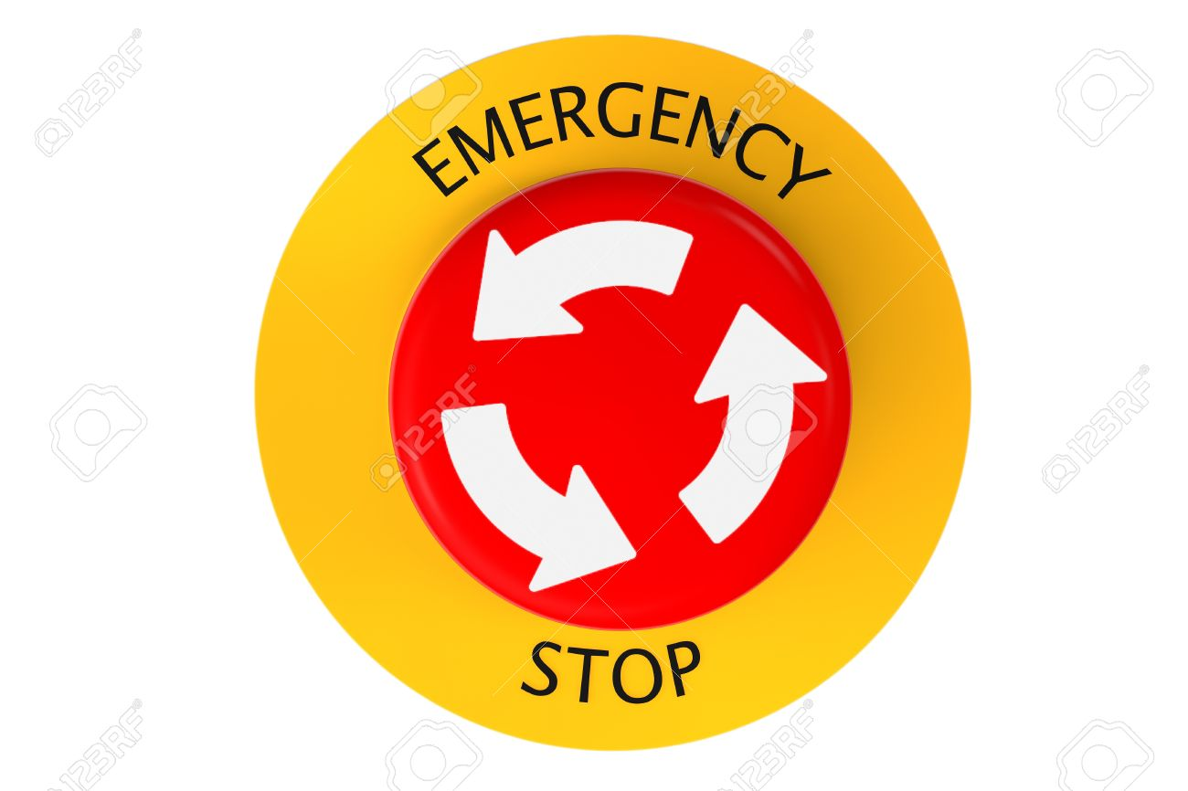 Red Emergency Stop Button On A White Background Stock Photo.