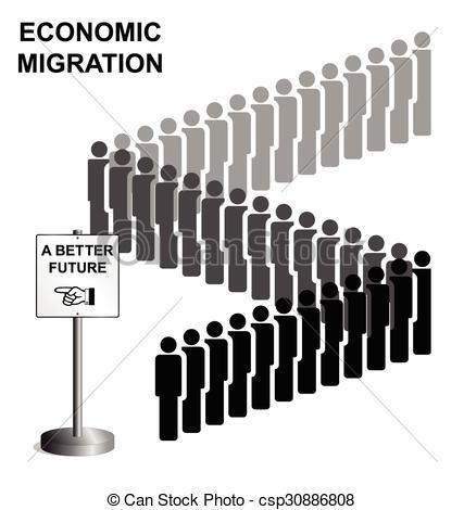 Clip Art Vector of Migrate Migration Emigration.
