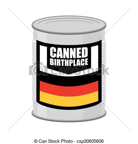 Vector Clipart of Canned birthplace. Patriotic Preserved.