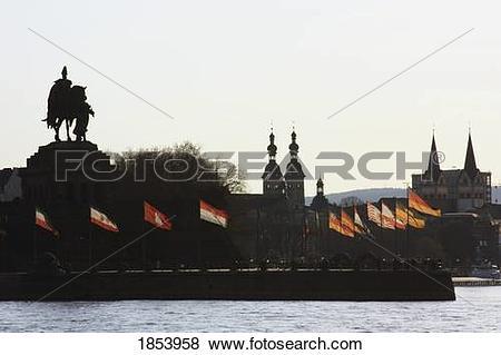 Pictures of Statue of Kaiser Wilhelm I; Koblenz, Rheinland Pfalz.