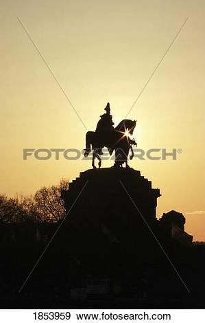 Stock Photograph of Silhouette of statue of Kaiser Wilhelm I.