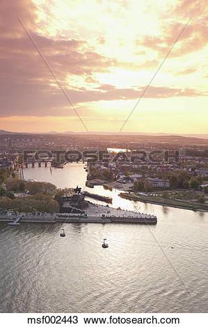 Stock Photo of Koblenz, Ehrenbreitstein, View of German Corner.