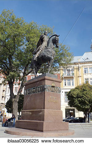 "Stock Image of ""Equestrian statue of King Danilo, historic."
