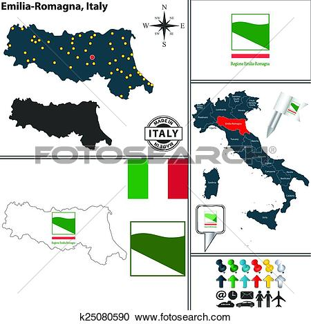 Clipart of Map of Emilia.