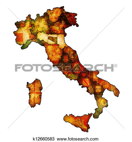 Drawing of map of italy with emilia romagna region k12660583.