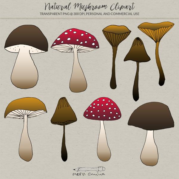 Natural Mushroom Clipart.