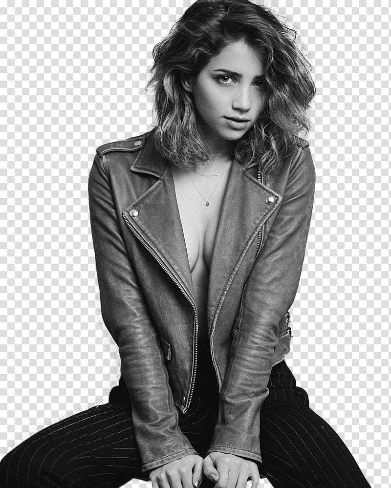 Emily Rudd, grayscale of woman wearing jacket transparent.
