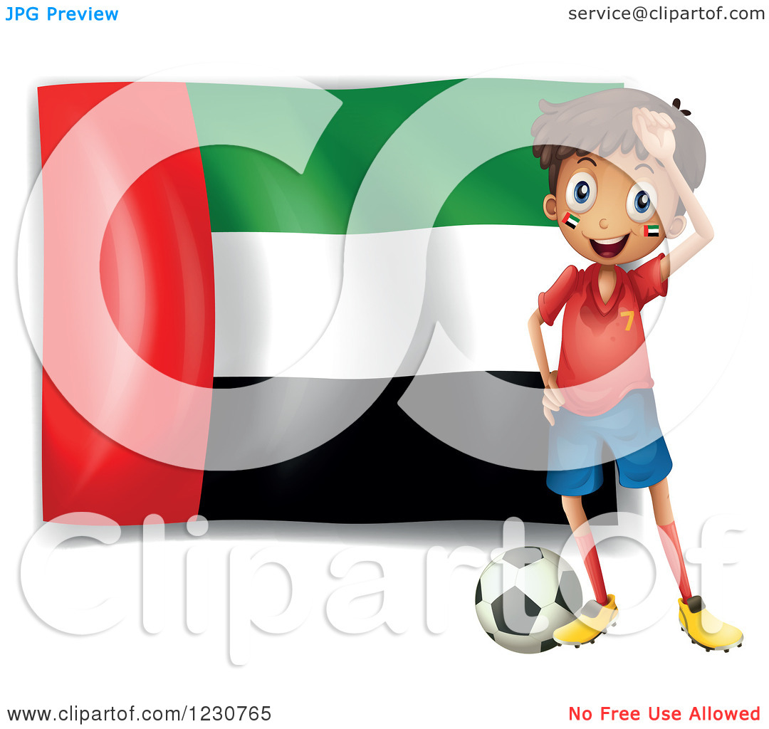 Clipart of a Hispanic Boy with a Soccer Ball and United Arab.