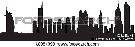 Clipart of Dubai, Emirates skyline. Detailed vector silhouette.