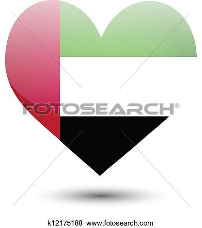 Clip Art of United Arab Emirates flag on heart k12175188.