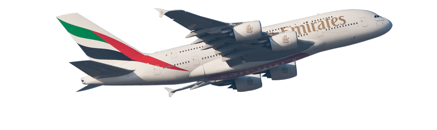 Airbus A380 Emirates Taking Off transparent PNG.