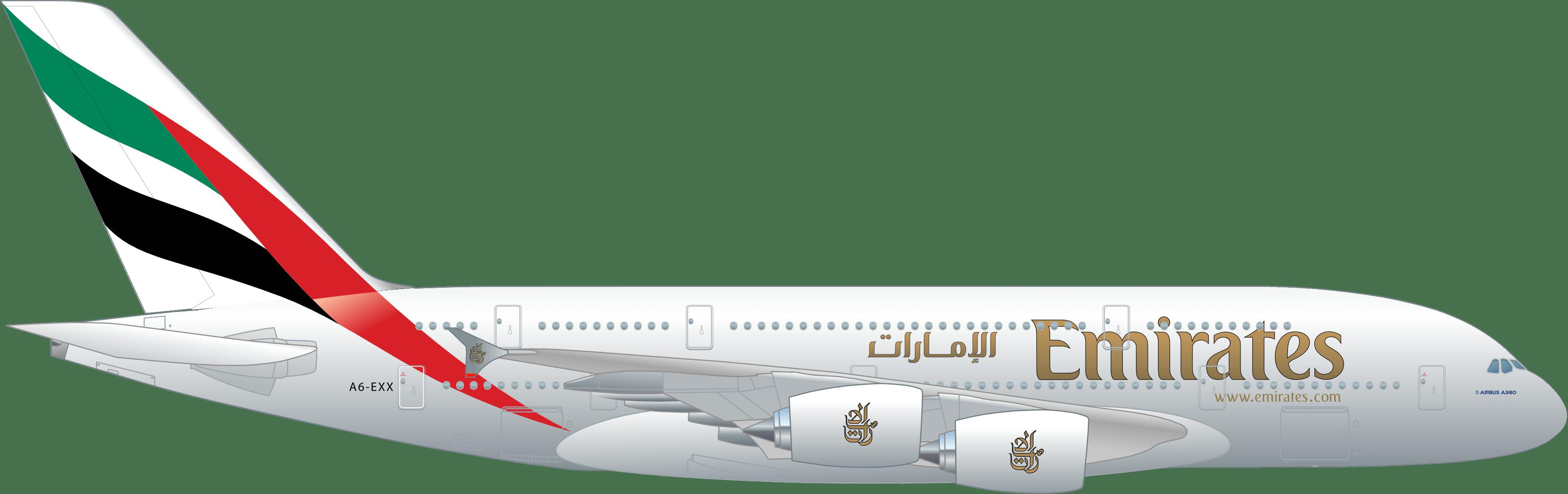 Emirates A380 transparent PNG.