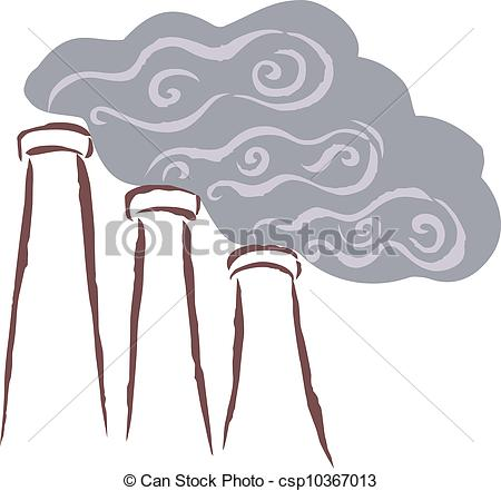 Clipart of Vents emitting smoke, polluting the surrounding area.