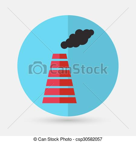 Clipart Vector of Smoke emission from factory pipes icon.