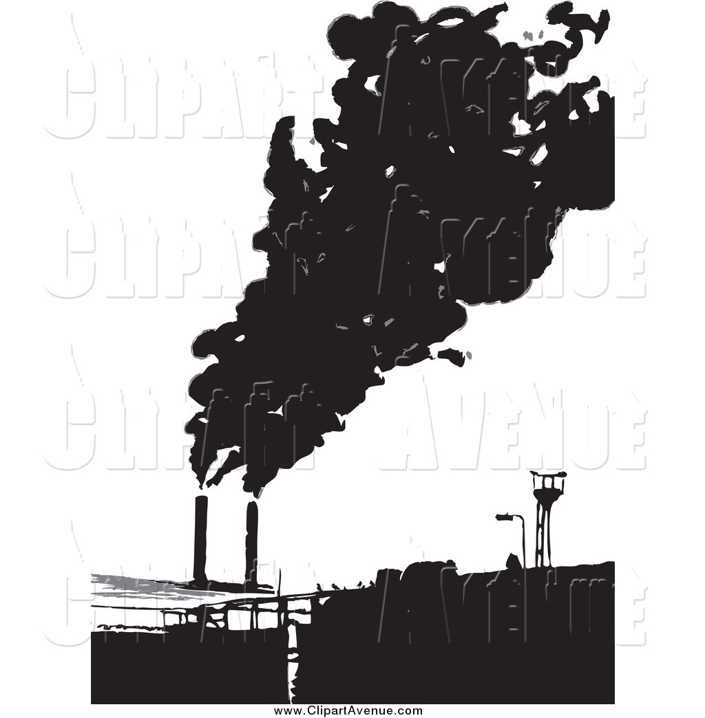 Avenue Clipart of a Factory Emitting Smoke by Prawny.