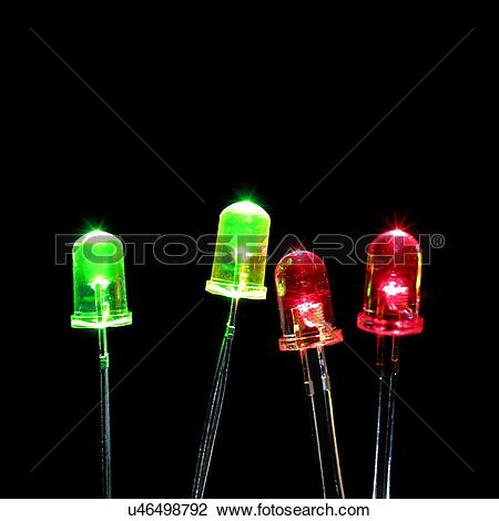 Clip Art of Green and red light emitting diodes (LEDs) against a.