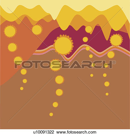 Clip Art of Lava emitting from a volcano on a Traditional American.
