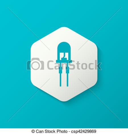 Clip Art Vector of light emitting diode.