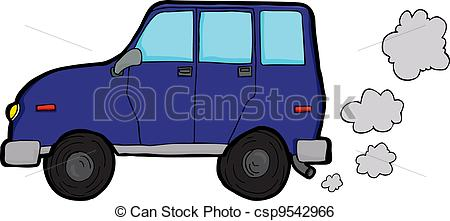 Clip Art Vector of Polluting Vehicle.