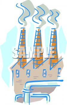 Royalty Free Clipart Image: Chimneys Or Smokestacks of a Factory.