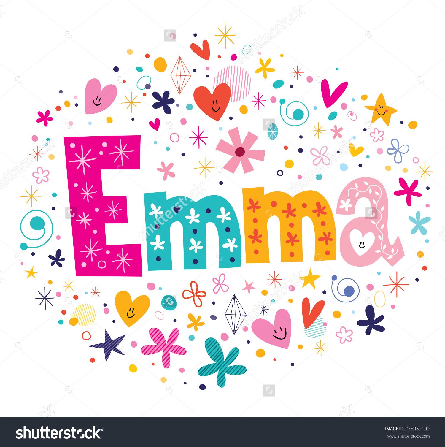 Emma Female Name Decorative Lettering Type Stock Vector 238959109.