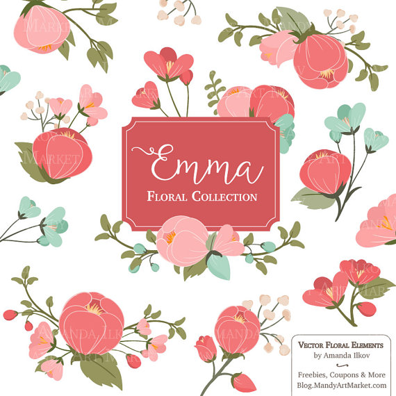 Emma Floral Bunches Clipart & Vectors Mint and by AmandaIlkov.