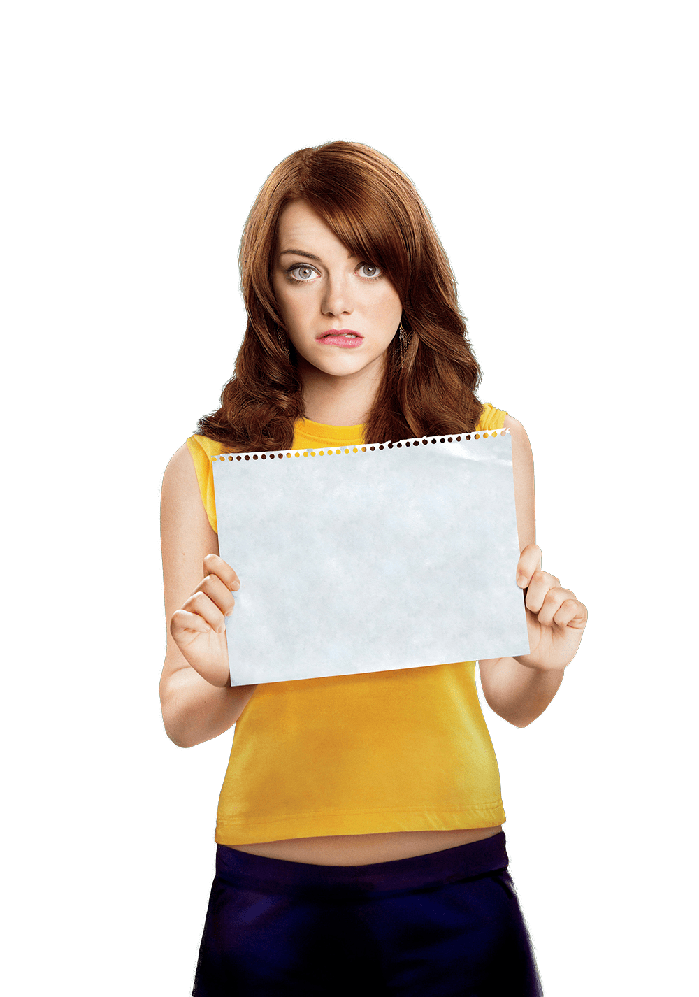 Emma Stone Holding Paper transparent PNG.