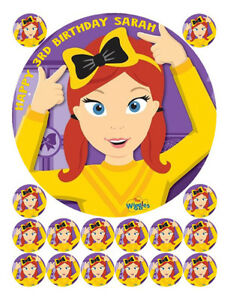 Details about EMMA WIGGLE EDIBLE WAFER BIRTHDAY CAKE & 16 CUPCAKE  DECORATION IMAGES TOPPERS.