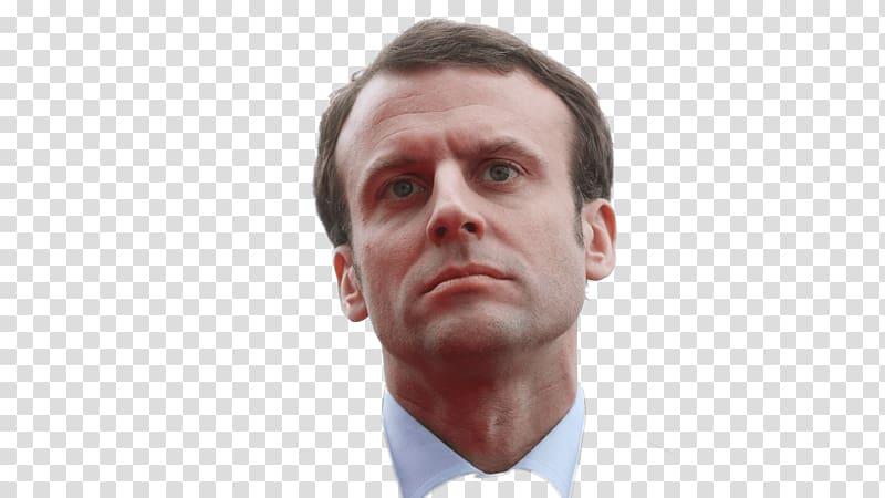 Man\'s portrait , Emmanuel Macron Looking Up transparent.