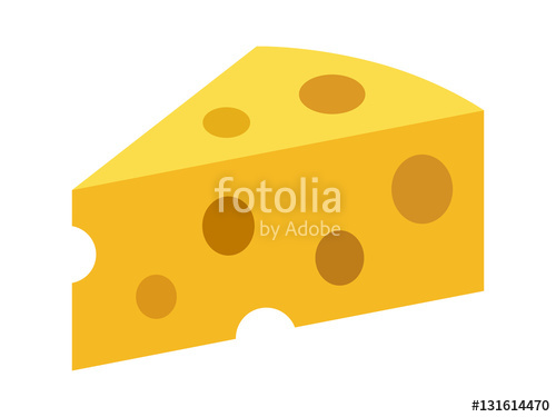 Swiss cheese or emmental cheese flat color icon for food apps and.