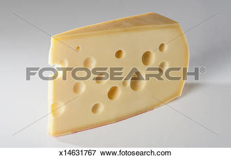Picture of Swiss emmental cheese on light grey background.