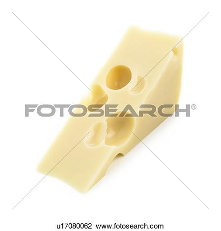 Clip Art of Emmental cheese against a white background. u17080062.