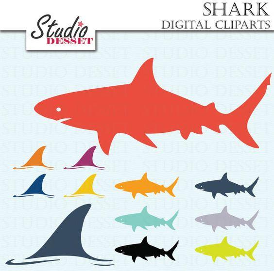 Shark Cliparts, Shark Fin Clip Art, Shark day Illustrations.