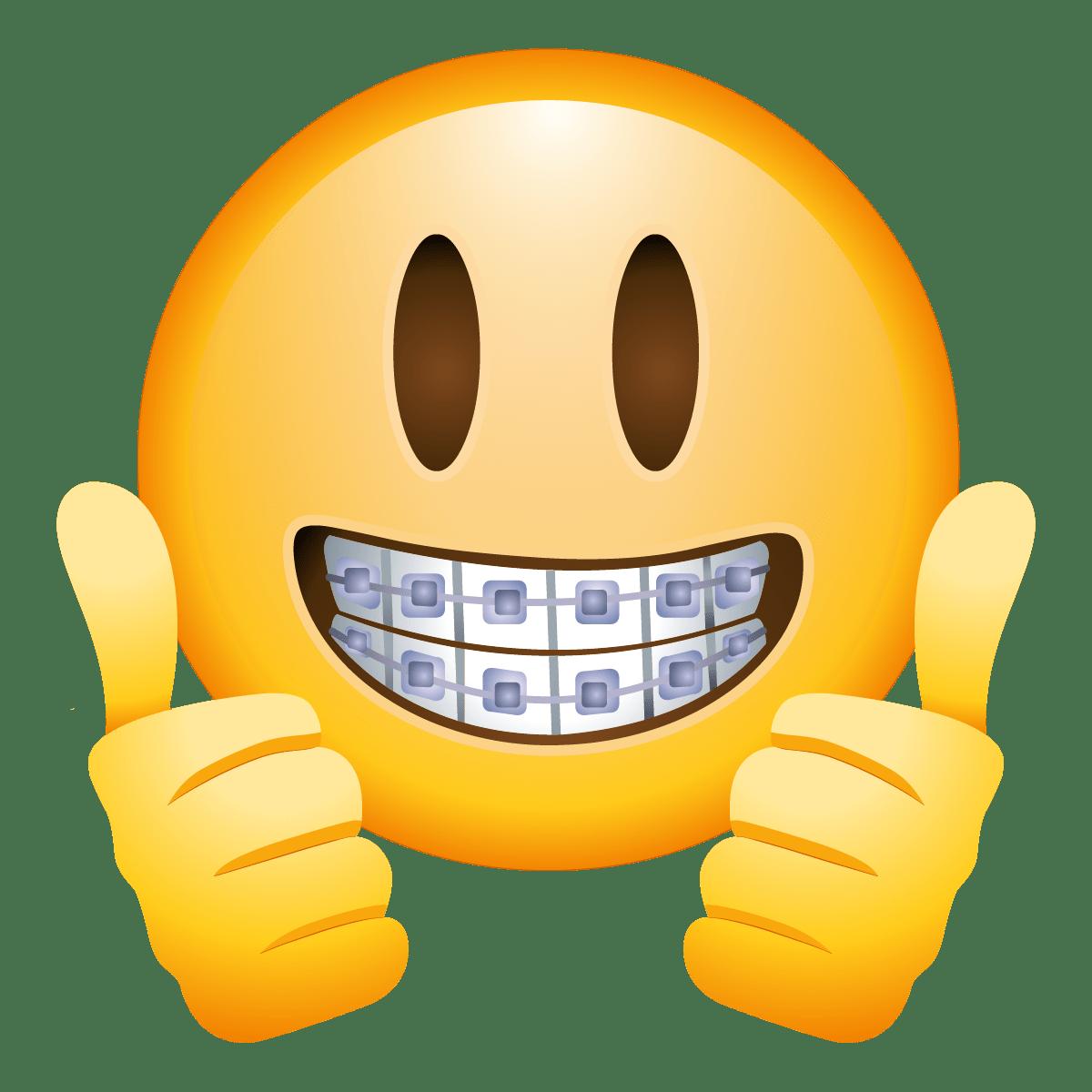 Braces Face Emoji transparent PNG.