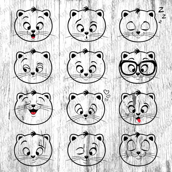 12 Cats Emoji clipart, Babies Kids Animals clipart,animals.