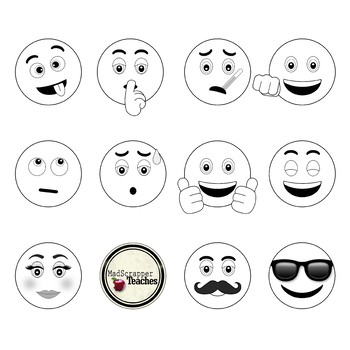 Smiley Face Clip Art Emoji Digital Clipart Black and White.