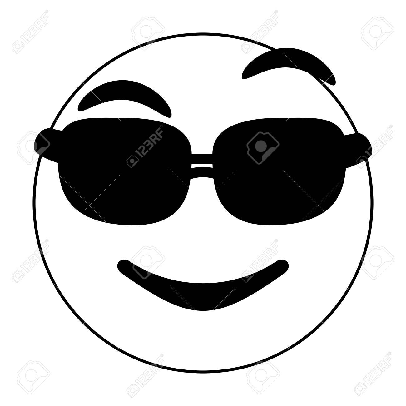Black and white cool emoji over white background vector illustration.