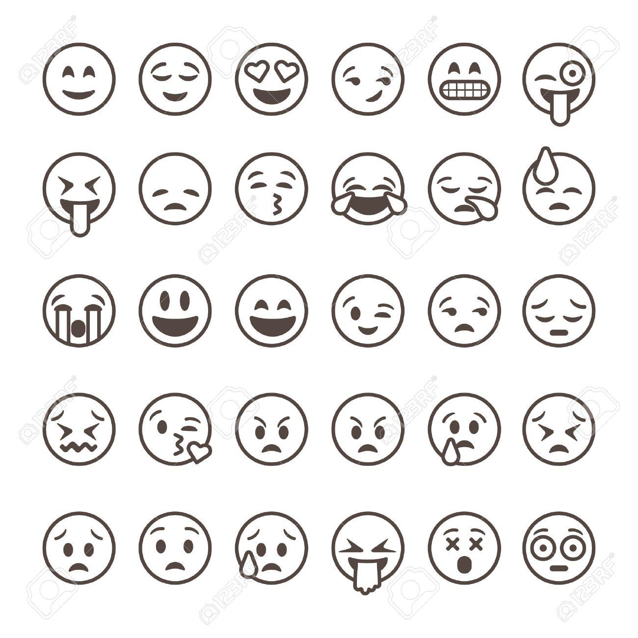 Set of outline emoticons, emoji isolated on white background,...