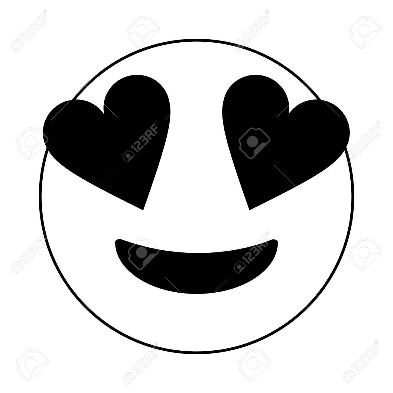 Black and white in love emoji over white background vector illustration.