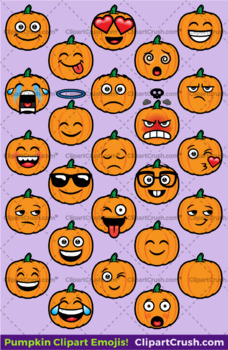 Pumpkin Emoji Clipart Faces / Pumpkin Fall Halloween Emojis Emotions  Expressions.