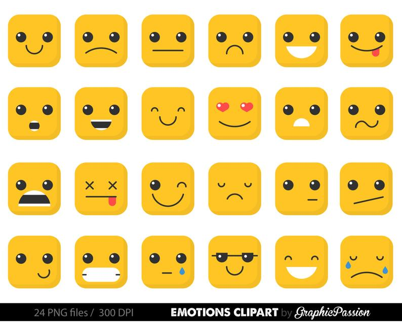 Emotion clipart, feelings clipart Faces Collage Sheet Emoji Calendar  Stickers Erin Condren Happy Planner Kikki Digital Emoticons Clip Art.