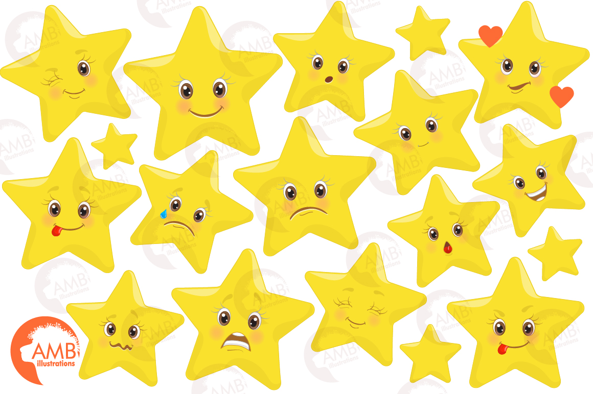 Emoji faces, Emoticons, Star faces, Star emoji clipart, graphics  illustrations AMB.