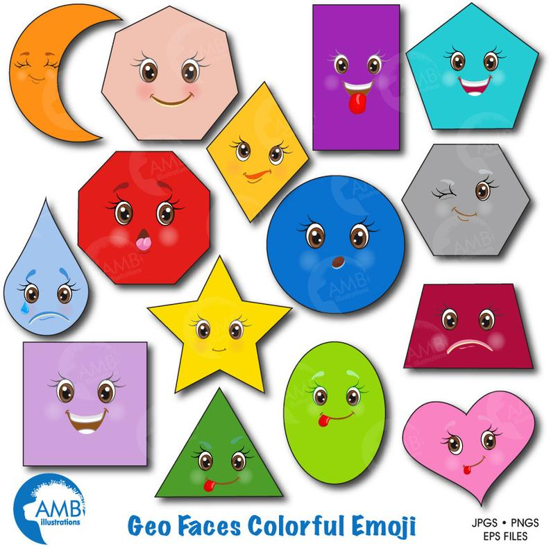 Emoji Clipart, Faces Clipart, Feelings Clipart, Geometric Shapes Clipart,  Shapes Clip Art, Commercial use, Digital Clip Art, AMB.