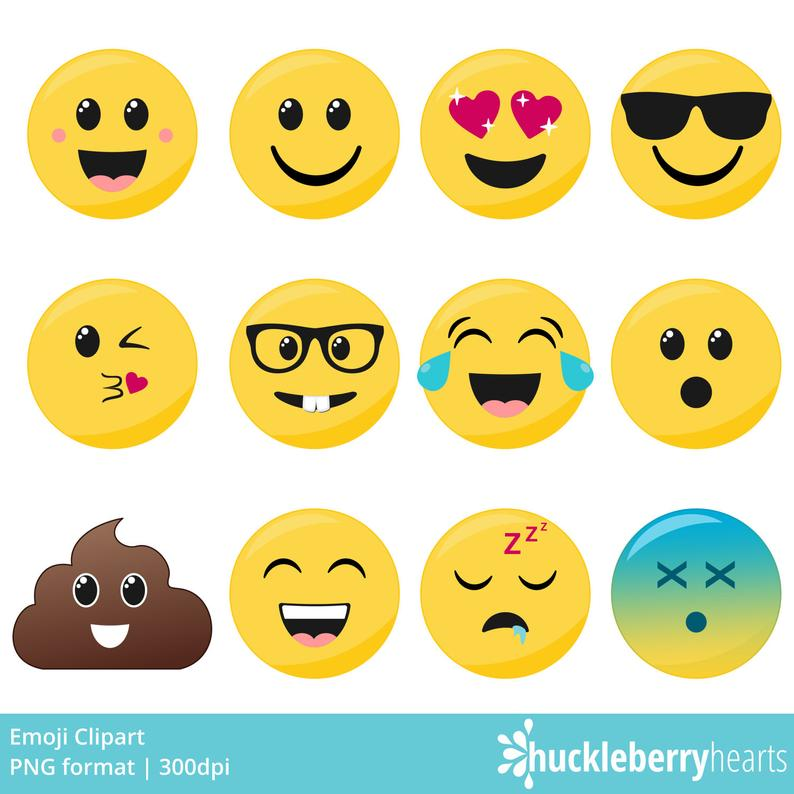 Emoji Clipart, Smiley Face Clipart, Faces, Printable, Commercial Use.