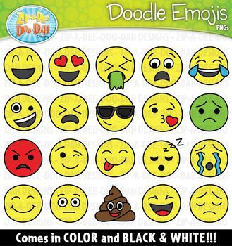 Doodle Emoji / Smiley Faces Clipart {Zip.