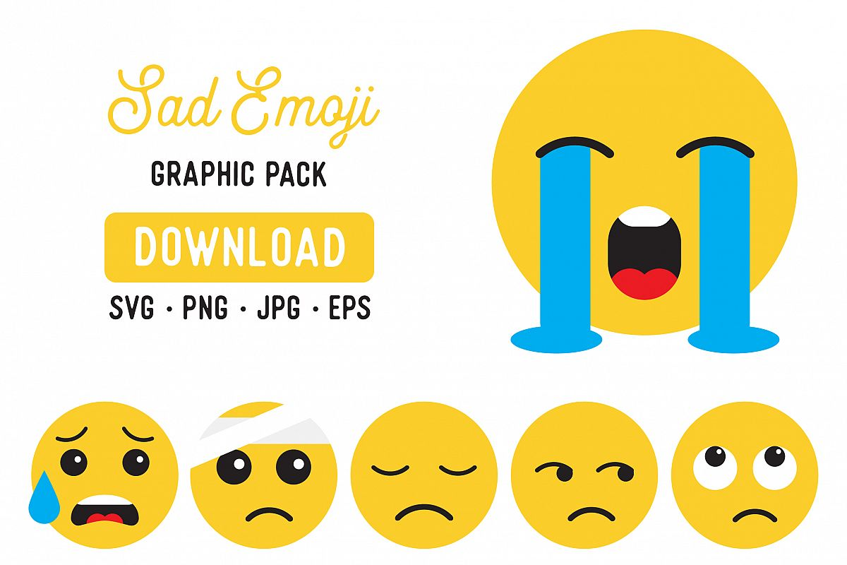 Sad Emoji Digital Clipart Pack.